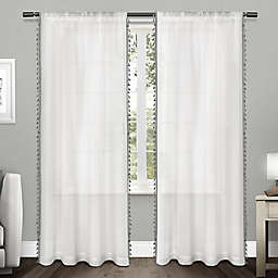 Tassels 2-Pack 84-Inch Rod Pocket Window Curtain in Black Pearl