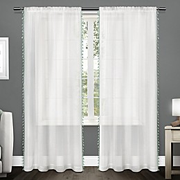 Tassels Rod Pocket Window Curtain Panel Pair