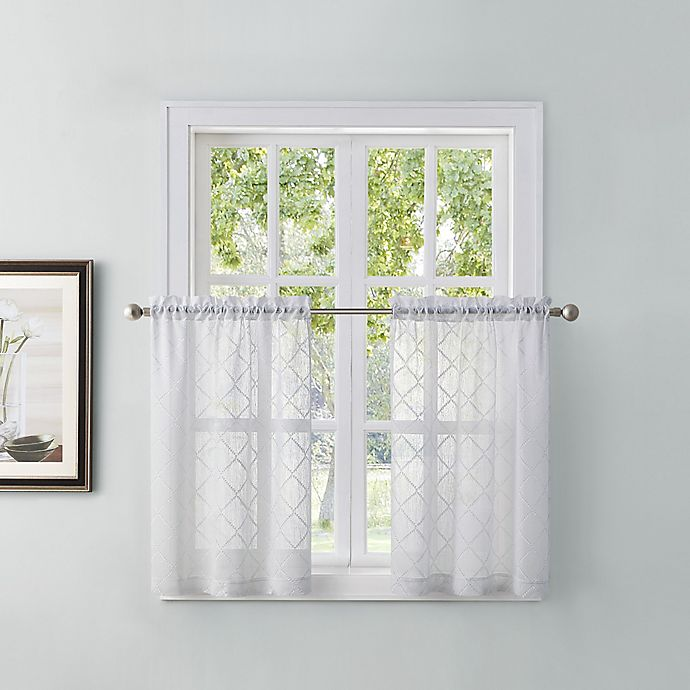 Alternate image 1 for Tiburon 24-Inch Window Curtain Tier Pair in White
