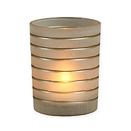 AREOHome Medium Frosted Glass Hurricane with Gold Stripes
