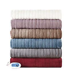 Beautyrest Heated Plush Oversized Solid Throw
