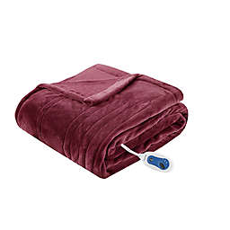 Beautyrest Heated Plush Oversized Solid Throw in Red