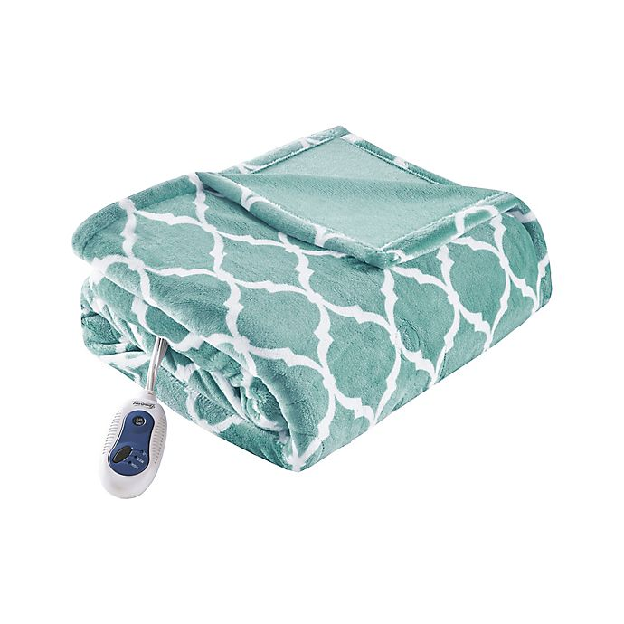 Alternate image 1 for Beautyrest Ogee Oversized Heated Throw in Aqua