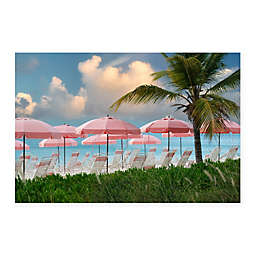Colossal Images    Pink Umbrella Beach Canvas Wall Art