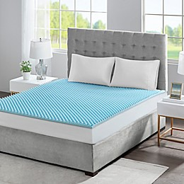 Sleep Philosophy Flexapedic 1.5-Inch Gel Memory Foam Mattress Topper in Blue