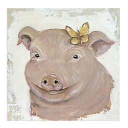 Penelope Pig 20-Inch Square Canvas Wall Art