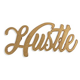9.5-Inch x 5-Inch Hustle Sand Casted Aluminum Wall Art in Gold