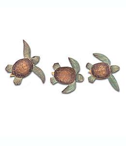 Tortugas marinas decorativas de madera, 3 piezas