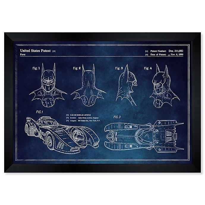 Alternate image 1 for Oliver Gal™ Batmobile And Accessories Paper Framed Print in Blue