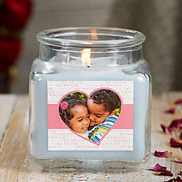 Love You This Much Personalized Crystal Waters Photo Candle Jar- Small