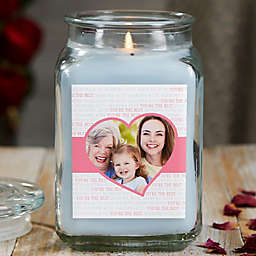 Love You This Much Personalized Crystal Waters Photo Candle Jar Collection