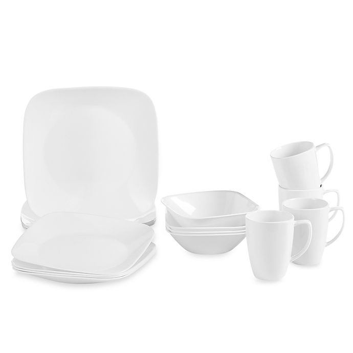 Corelle 174 Vivid White Square 16 Piece Dinnerware Set Bed