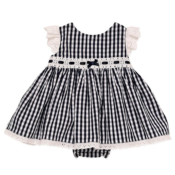 Alternate image 1 for Baby Starters® Gingham Dress and Diaper Pant Set in Navy