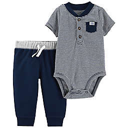 carter's® 2-Piece Henley Stripe Bodysuit and Pant Set in Navy/Pink