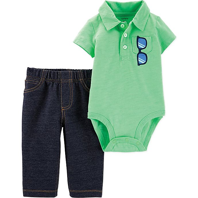 Alternate image 1 for carter's® Size 12M 2-Piece Polo Bodysuit and Pant Set in Neon Mint
