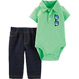 carter's® 2-Piece Polo Bodysuit and Pant Set in Neon Mint