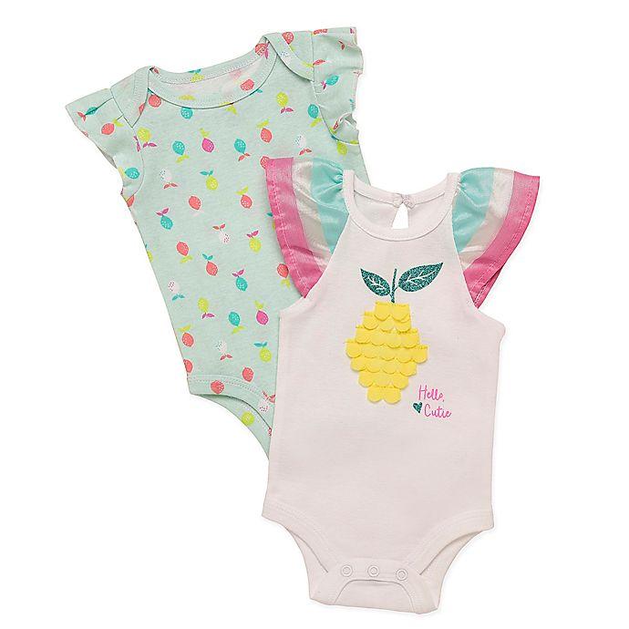 Alternate image 1 for Baby Starters® 2-Pack Flutter Fruit Bodysuits