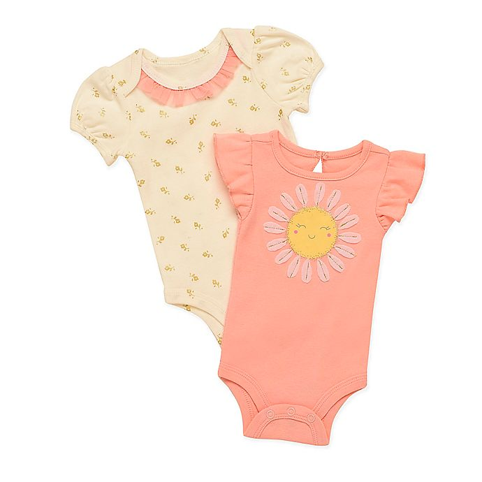Alternate image 1 for Baby Starters® 2-Pack Sunflower Bodysuits in Pink
