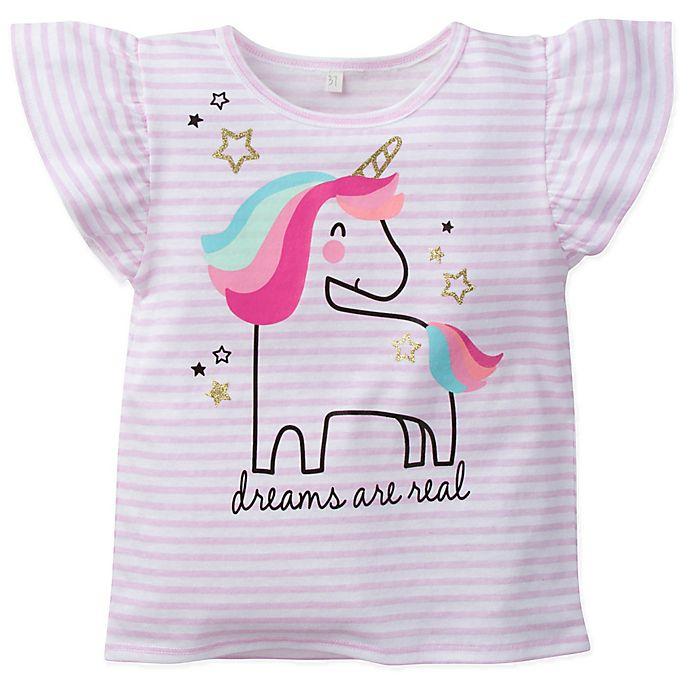 Alternate image 1 for Gerber® Stripe Unicorn Top in Pink