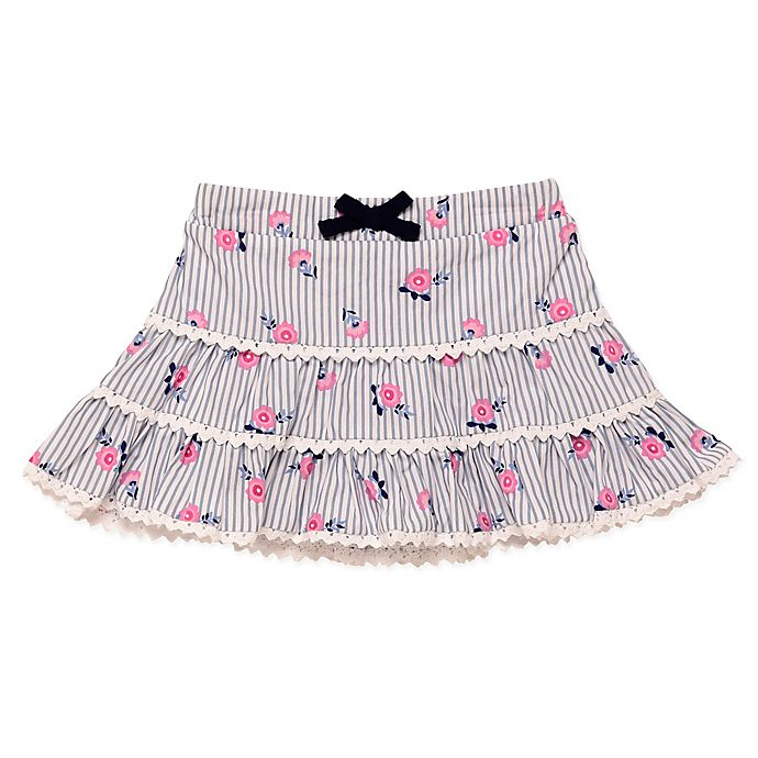 Alternate image 1 for Baby Starters® Striped Rosette Print Tutu Skirt in Blue/White