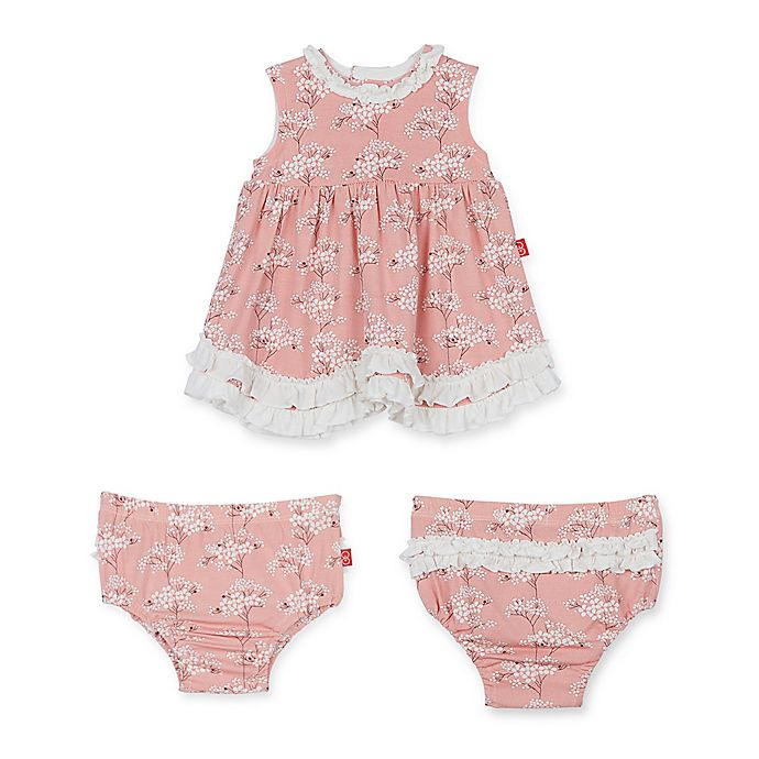 Alternate image 1 for Magnetic Me™ 3-Piece Blossom Ruffle Dress and Diaper Cover Set in Pink