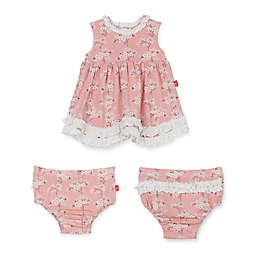Magnetic Me™ 3-Piece Blossom Ruffle Dress and Diaper Cover Set in Pink