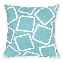 Liora Manne Squares Square Indoor/Outdoor Throw Pillow in Aqua