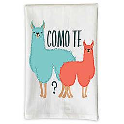 "Love You a Latte Shop ""Como Te Llama"" Handmade Kitchen Towel in White"