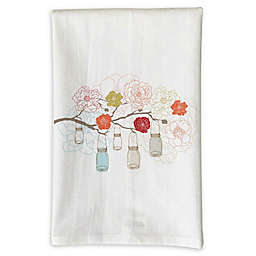 Love You a Latte Shop Coral Mason Jars Handmade Kitchen Towel in White
