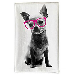 Love You a Latte Shop Chihuahua with Glasses Handmade Kitchen Towel in White