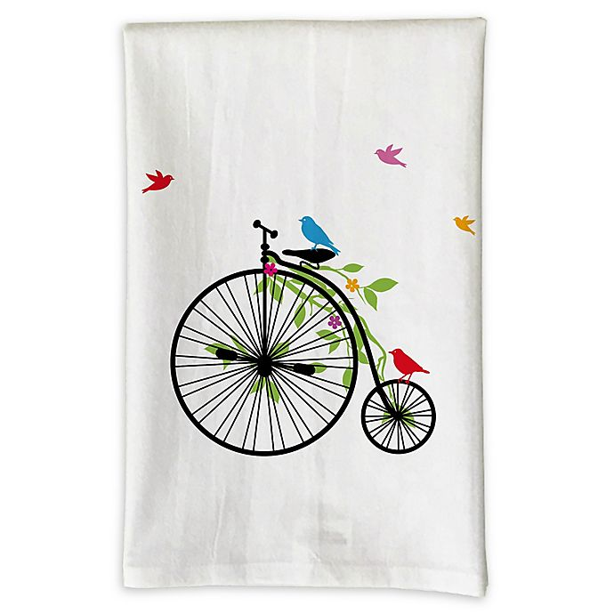 Alternate image 1 for Love You a Latte Shop Birds on Tricycle Handmade Kitchen Towel in White