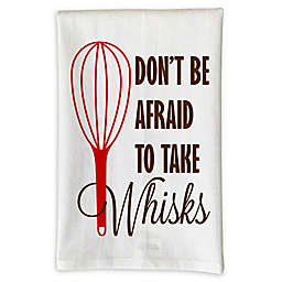 """Love You a Latte Shop """"Don't Be Afraid To Take Whisks"""" Kitchen Towel in White"""