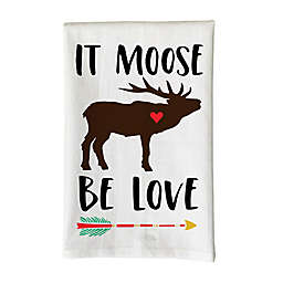 """Love You a Latte Shop """"It Moose Be Love"""" Kitchen Towel in White"""