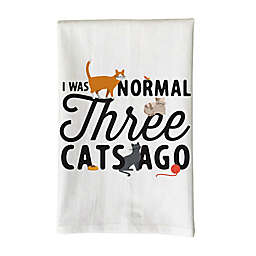 """Love You a Latte Shop """"I Was Normal Three Cats Ago"""" Kitchen Towel in White"""