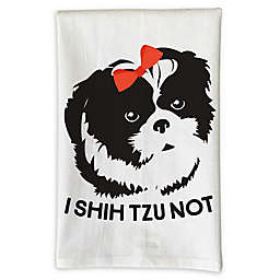 "Love You a Latte Shop "" I Shih Tzu Not"" Kitchen Towel in White"