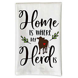 """Love You a Latte Shop """"Home Is Where My Herd Is"""" Kitchen Towel in White"""