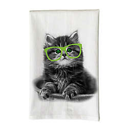 Love You a Latte Shop Kitten with Glasses Kitchen Towel in White