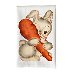Love You a Latte Shop Vintage Bunny Holding Carrot Kitchen Towel in White