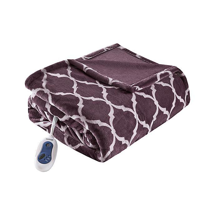 Alternate image 1 for Beautyrest® Ogee Heated Throw Blanket in Purple