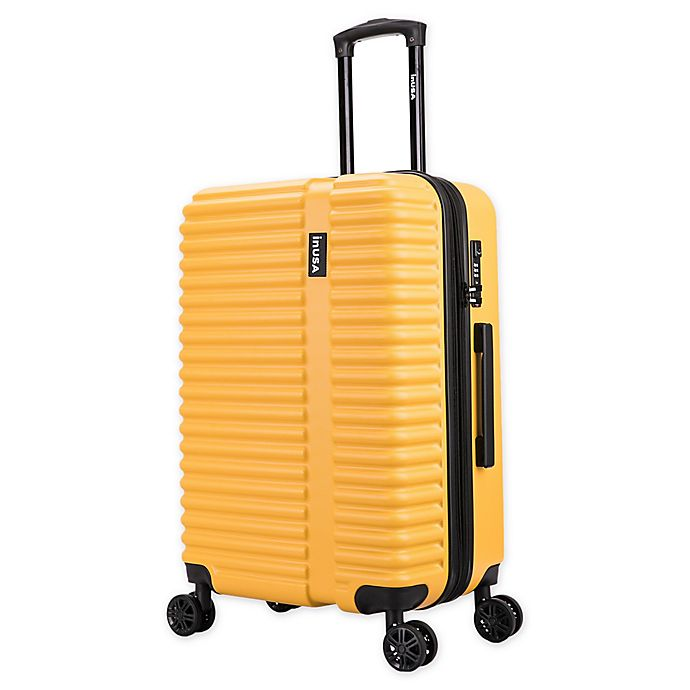Alternate image 1 for InUSA Ally 24-Inch Hardside Spinner Checked Luggage in Mustard