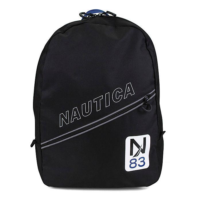 Alternate image 1 for Nautica® Kids Crest Diagonal Zip 16.5-Inch Full Size Backpack in Navy
