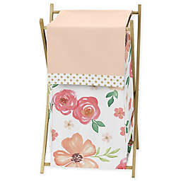 Sweet Jojo Designs Watercolor Floral Laundry Hamper in Peach/Green