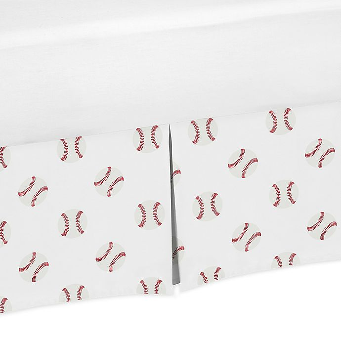 Alternate image 1 for Sweet Jojo Designs® Baseball Patch Bed Skirt in Red/White