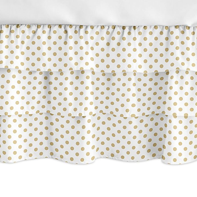 Alternate image 1 for Sweet Jojo Designs® Watercolor Floral Crib Skirt in Gold/White