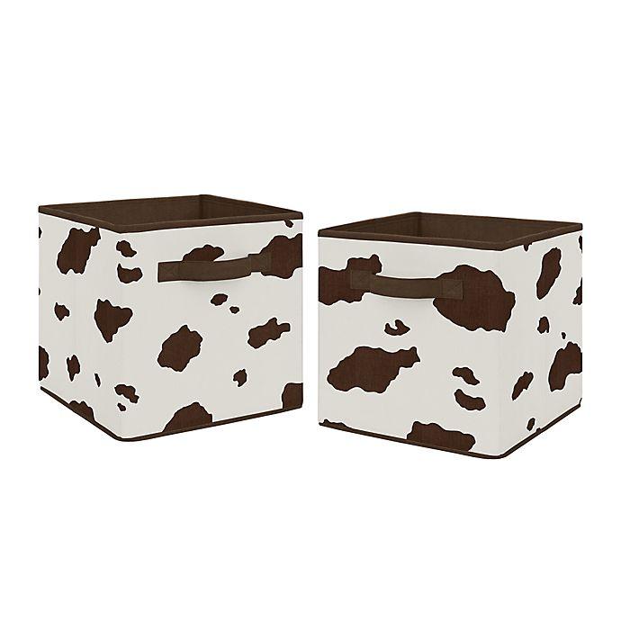 Alternate image 1 for Sweet Jojo Designs Wild West Cow Print Storage Bins in Brown/Cream (Set of 2)