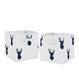 Sweet Jojo Designs Woodland Deer Fabric Storage Bins in White/Navy (Set of 2)