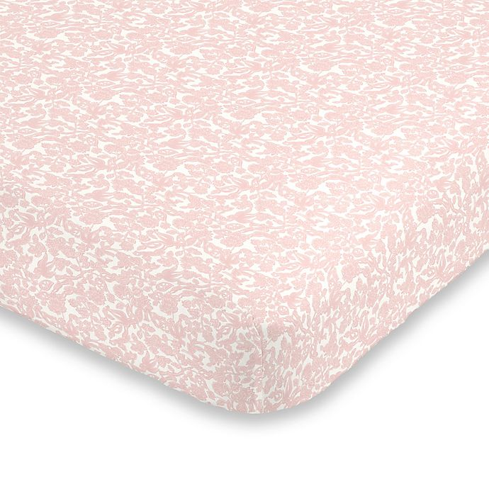 Alternate image 1 for ED Ellen DeGeneres Painterly Floral Fitted Crib Sheet in Pink