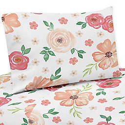 Sweet Jojo Designs® Watercolor Floral Twin Sheet Set in Peach/White
