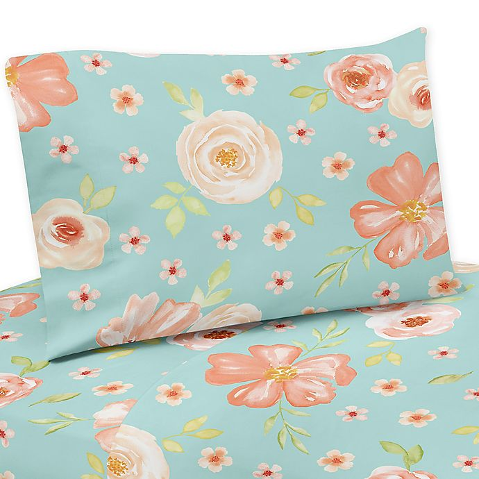 Alternate image 1 for Sweet Jojo Designs® Watercolor Floral Twin Sheet Set in Peach/Turquoise