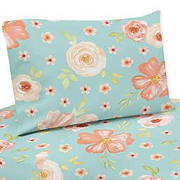 Sweet Jojo Designs® Watercolor Floral Sheet Set in Peach/Turquoise